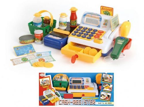 Kids Cash Register Supermarket Till Scanner Shopping Basket Light Sound Roleplay